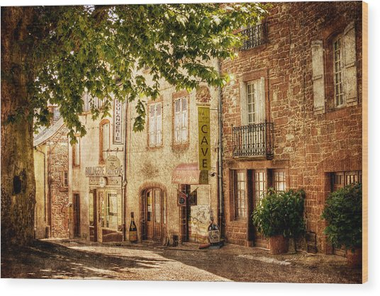 Wood Print featuring the photograph French Village Street / Meyssac by Barry O Carroll