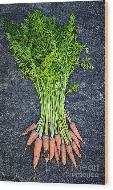 Fresh Carrots From Garden Wood Print
