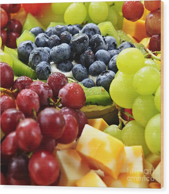 Fresh Fruits And Cheese Wood Print