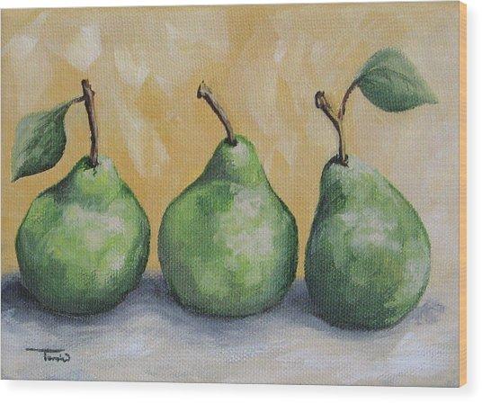 Fresh Green Pears Wood Print