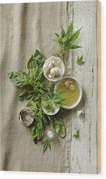 Fresh Ingredients With Marijuana Wood Print by Lew Robertson