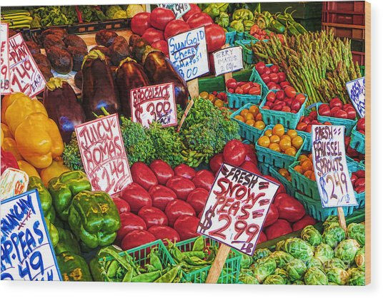 Fresh Market Vegetables Wood Print