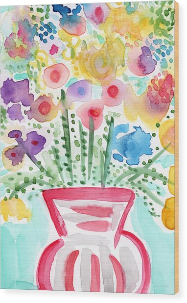Fresh Picked Flowers- Contemporary Watercolor Painting Wood Print