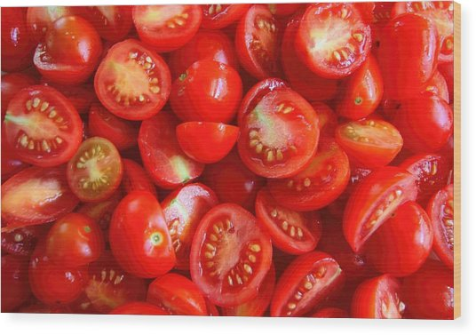 Fresh Red Tomatoes Wood Print