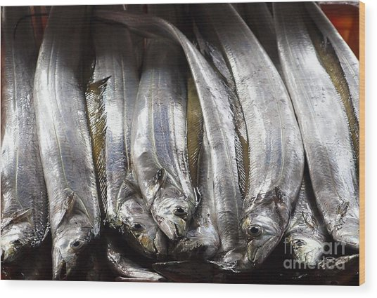 Fresh Ribbonfish For Sale In Taiwan Wood Print