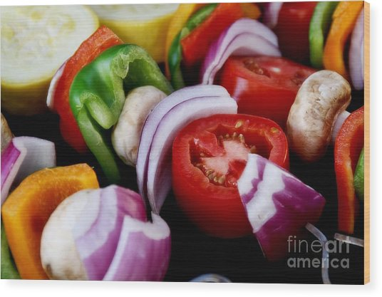 Fresh Veggie Kabobs On The Grill Wood Print