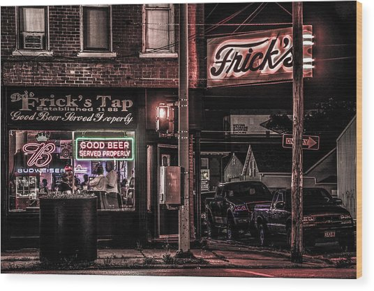 Frick's Tap Wood Print