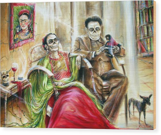 Frida And Diego With Pet Monkey Wood Print