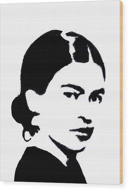 Wood Print featuring the mixed media Frida Black And White by Michelle Dallocchio