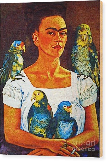 Frida In Tlaquepaque Wood Print