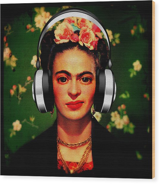 Wood Print featuring the mixed media Frida Jams by Michelle Dallocchio