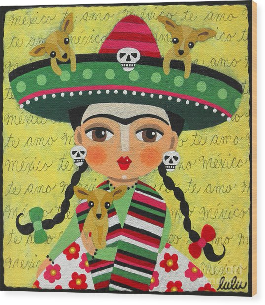 Frida Kahlo With Sombrero And Chihuahuas Wood Print