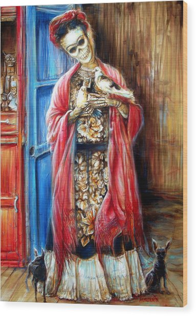 Frida With Doves Wood Print
