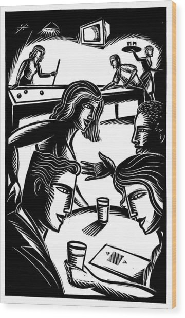Friends At Bar Wood Print by Jerry Nelson