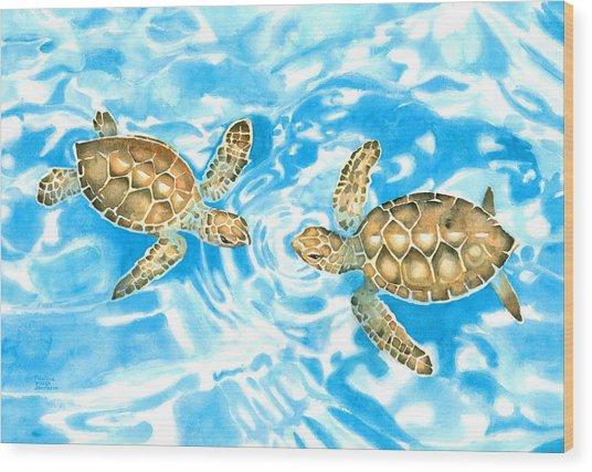 Friends Baby Sea Turtles Wood Print