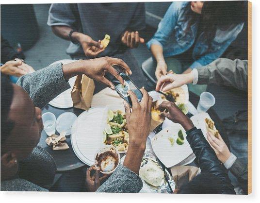 Friends In New York At Food Cart Wood Print by RyanJLane
