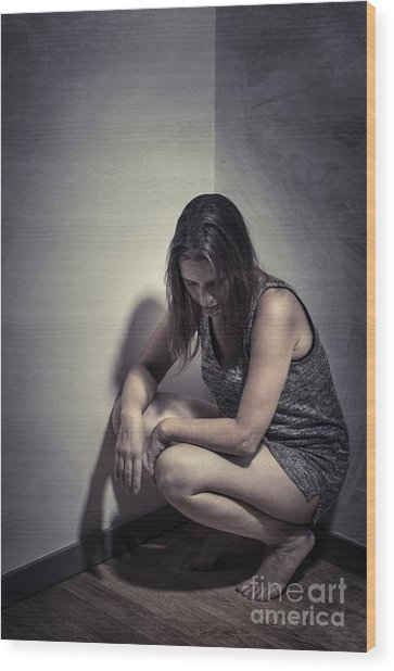 Frightened Woman Wood Print