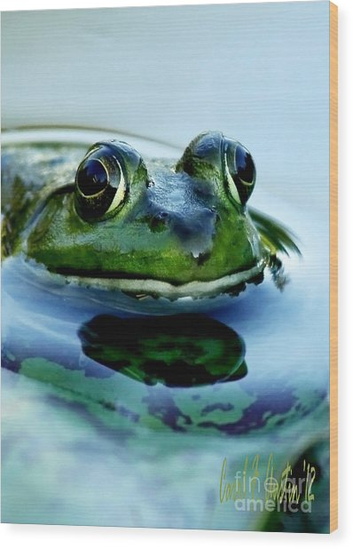 Green Frog I Only Have Eyes For You Wood Print
