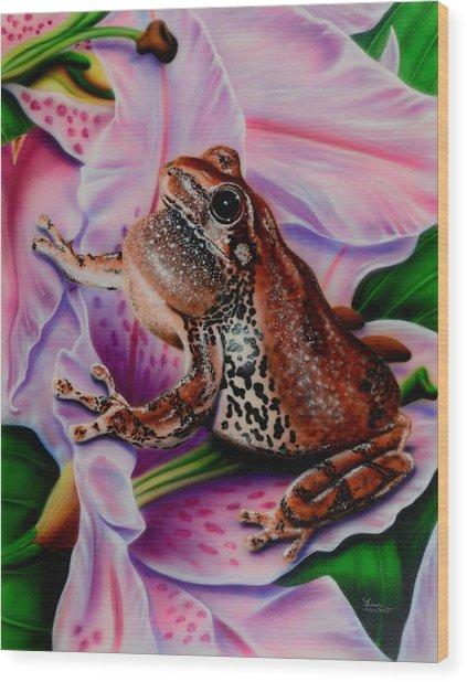 Frog Flower Wood Print