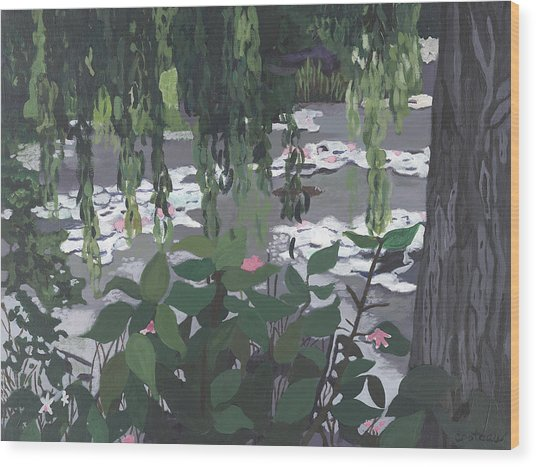 Wood Print featuring the painting Frog Heaven by Jane Croteau