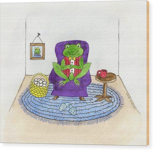 Frog In Purple Chair Wood Print