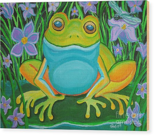 Frog On A Lily Pad Wood Print