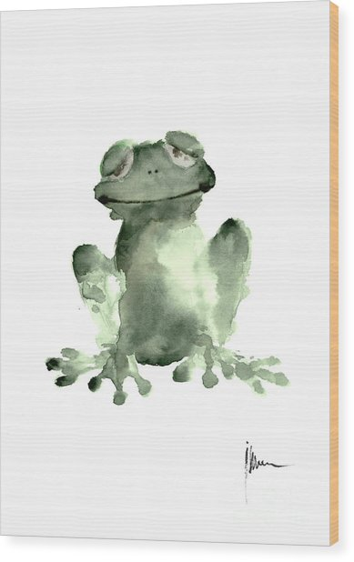 Frog Painting Watercolor Art Print Green Frog Large Poster Wood Print