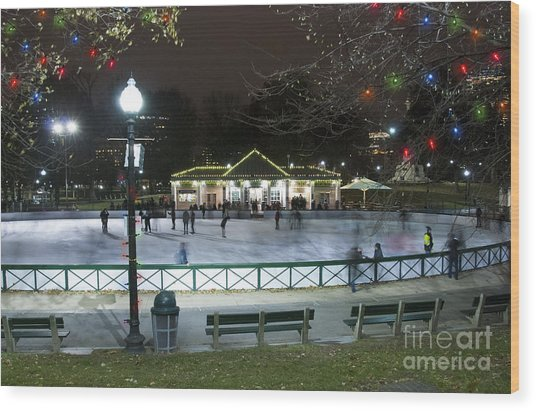 Frog Pond Ice Skating Rink In Boston Commons Wood Print