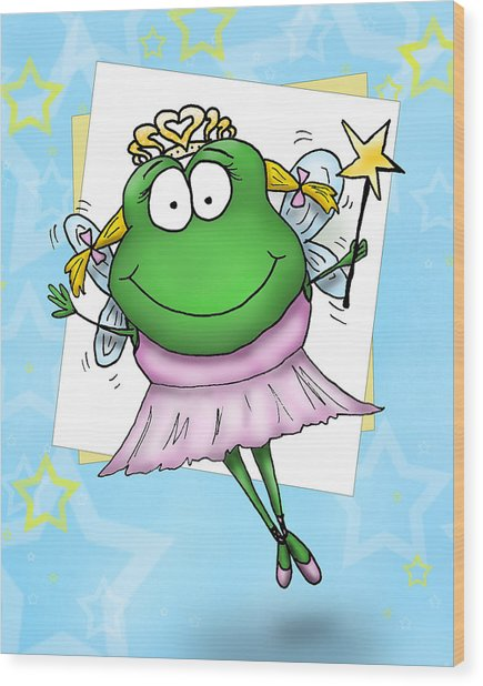 Froggy Fairy Wood Print by Nicole Spencer