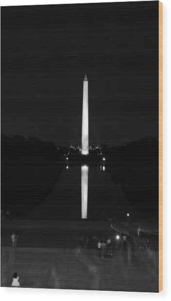 From Lincoln To Washington In Black And White Wood Print