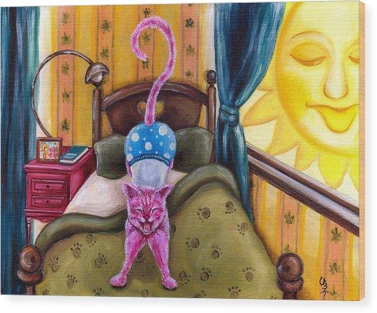 From Purple Cat Illustration 2 Wood Print