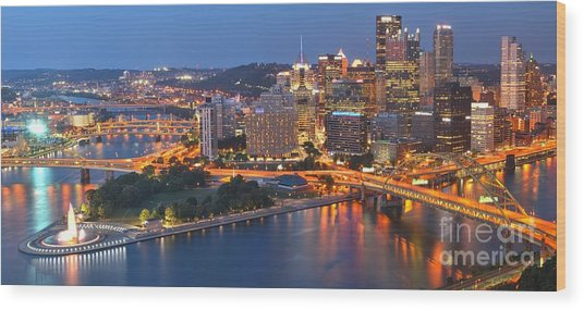 From The Fountain To Ft. Pitt Wood Print