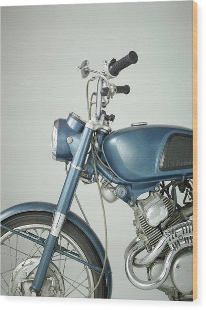 Front Of Vintage Motorcycle In Studio Wood Print by Nisian Hughes