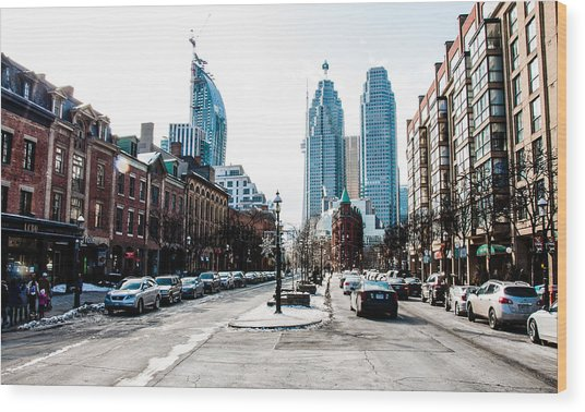 Wood Print featuring the photograph Front Street Toronto - St. Lawrence Market District - Colour  by Rosemary Legge