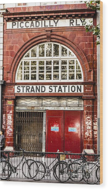 Front To The Disused Strand Underground Station On The Piccadill Wood Print
