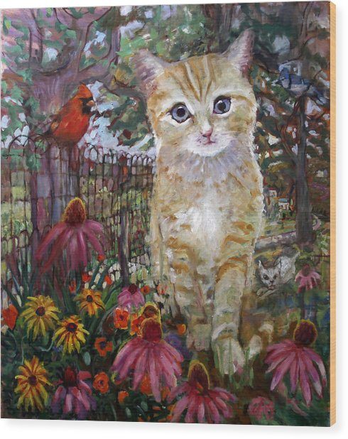 Front Yard Kitty Wood Print