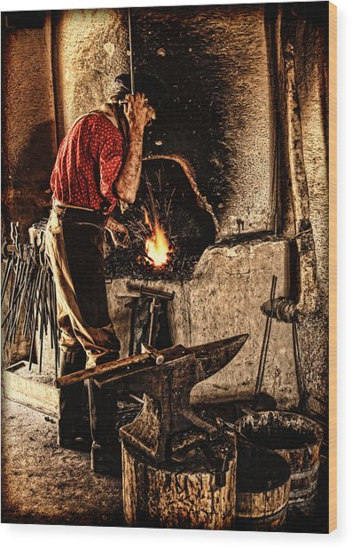 Frontier Blacksmith At The Forge Wood Print
