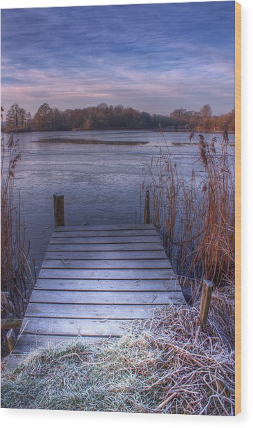 Frosty Jetty Wood Print