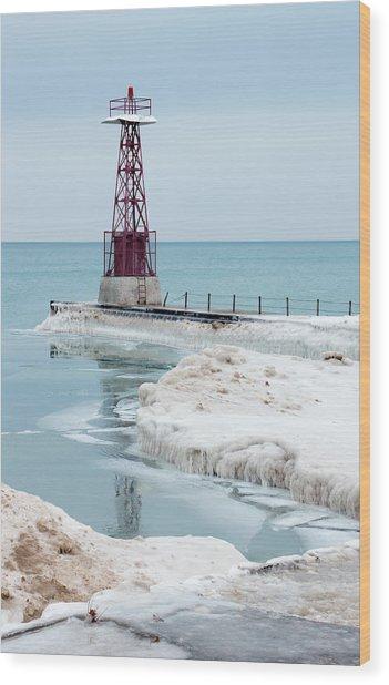 Frozen Beach Wood Print