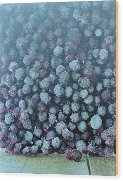Frozen Blueberries Wood Print