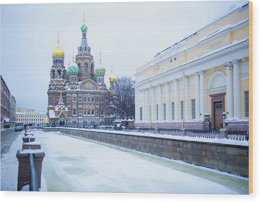 Frozen Canal Near Church Of The Savior Wood Print by Jacobs Stock Photography Ltd