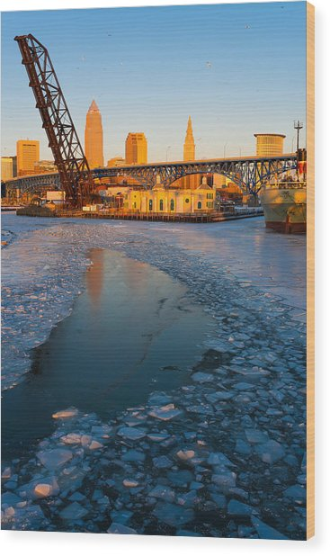 Frozen Cleveland Flats Skyline At Sunset Wood Print