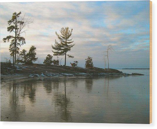 Frozen Lake At Dusk Wood Print