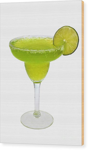 Frozen Margarita With Lime Isolated Wood Print