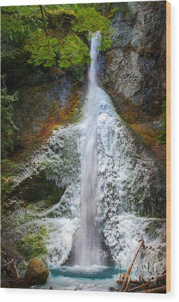 Frozen Marymere Falls Wood Print