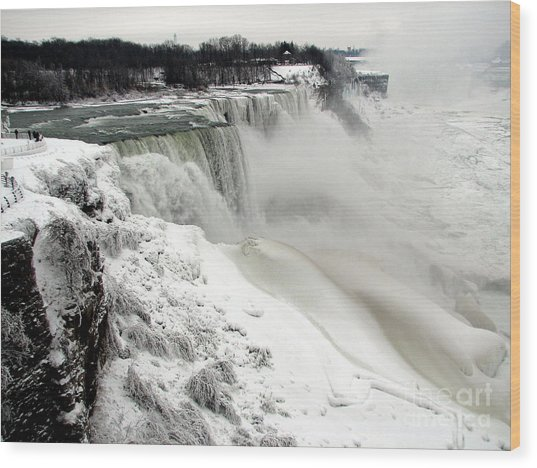 Wood Print featuring the photograph Frozen Niagara And Bridal Veil Falls by Rose Santuci-Sofranko