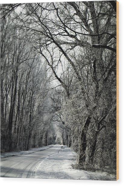 Frozen Road Wood Print