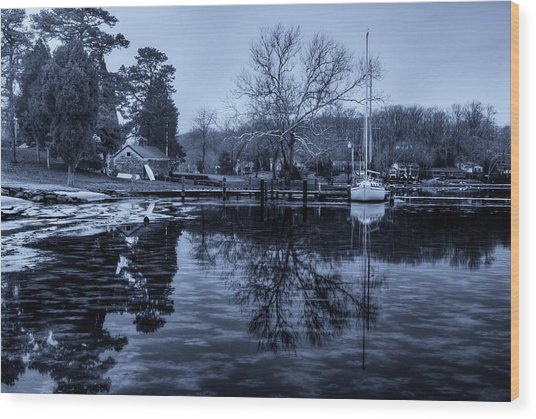 Frozen Sailboat And Cloudy Ice Wood Print