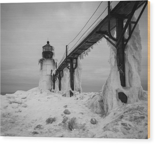 Frozen St. Joseph Lighthouse Wood Print