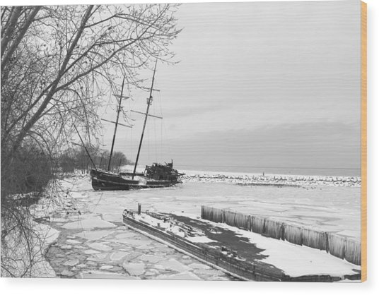 Frozen Tall Ship Wood Print